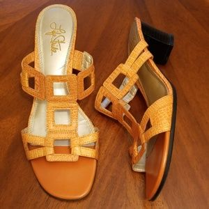 Life Stride orange geometric sandal 8.5 Rk:7:719